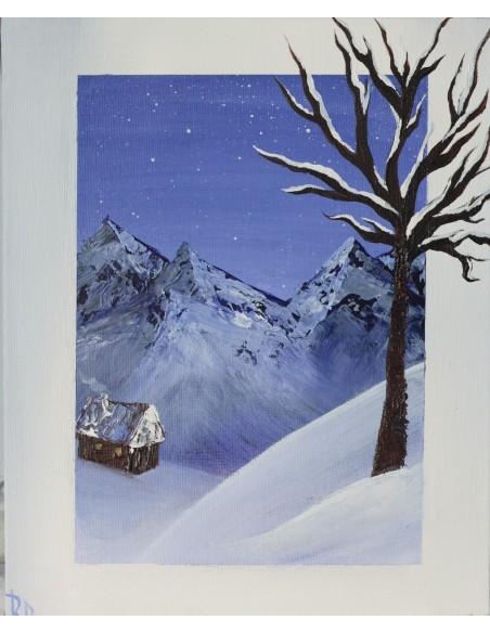 Amurg de iarnă - Acrilic pe carton pânzat