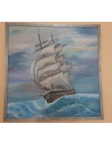Tablou ulei pe panza corabie pe mare