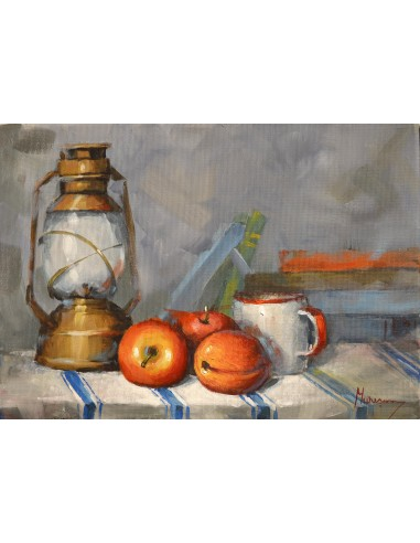 Still life with lamp and fruits