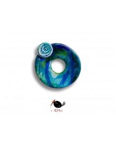 Broșă unicat - Broșă cercuri albastre