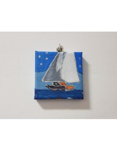 """Tablou """"Barca pe valuri"""" 10/10 cm"""