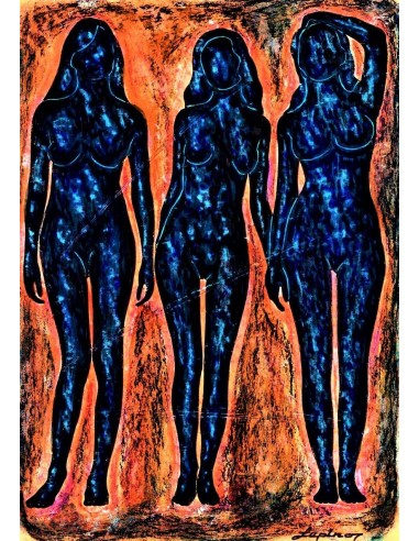 3 blue silouette