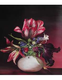 Red tulips bouquet still life