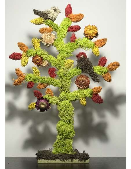 Copac cu licheni stabilizați și flori uscate