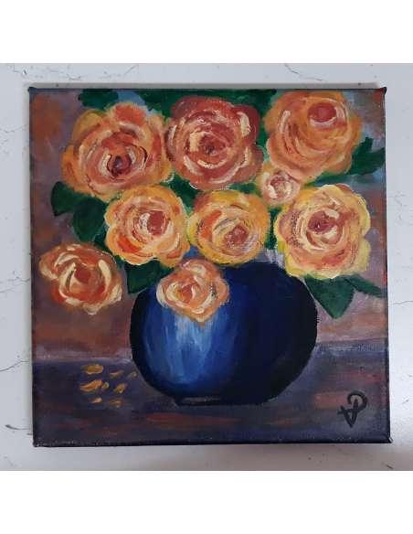 Trandafiri in vaza albastra