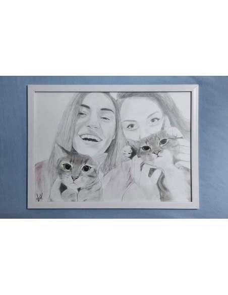 Portret la comandă,  2 personaje + prieteni blănoși, format A3