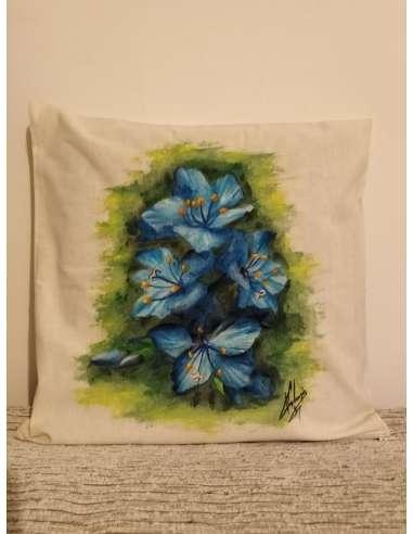 """"""" BLUE""""-Fata de perna decorativa, pictata manual"""