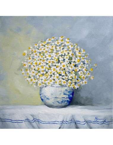 Vaza cu flori de musetel