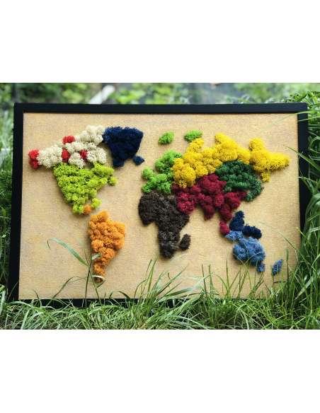 Tablou harta lumii cu licheni stabilizati