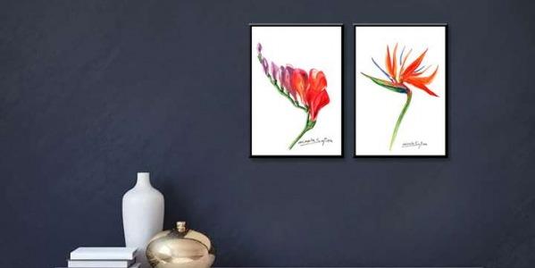 Tablouri cu flori. Așezarea tablourilor florale pe perete